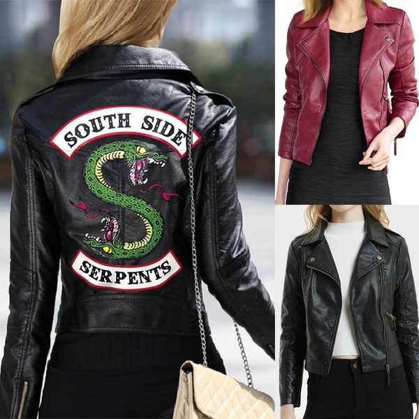 Hot TV Play 2019 New Spring Riverdale Southside Serpent Kpop Zipper PU Jacket Women Coats Slim fit Jacket Outwear Clothes xxl