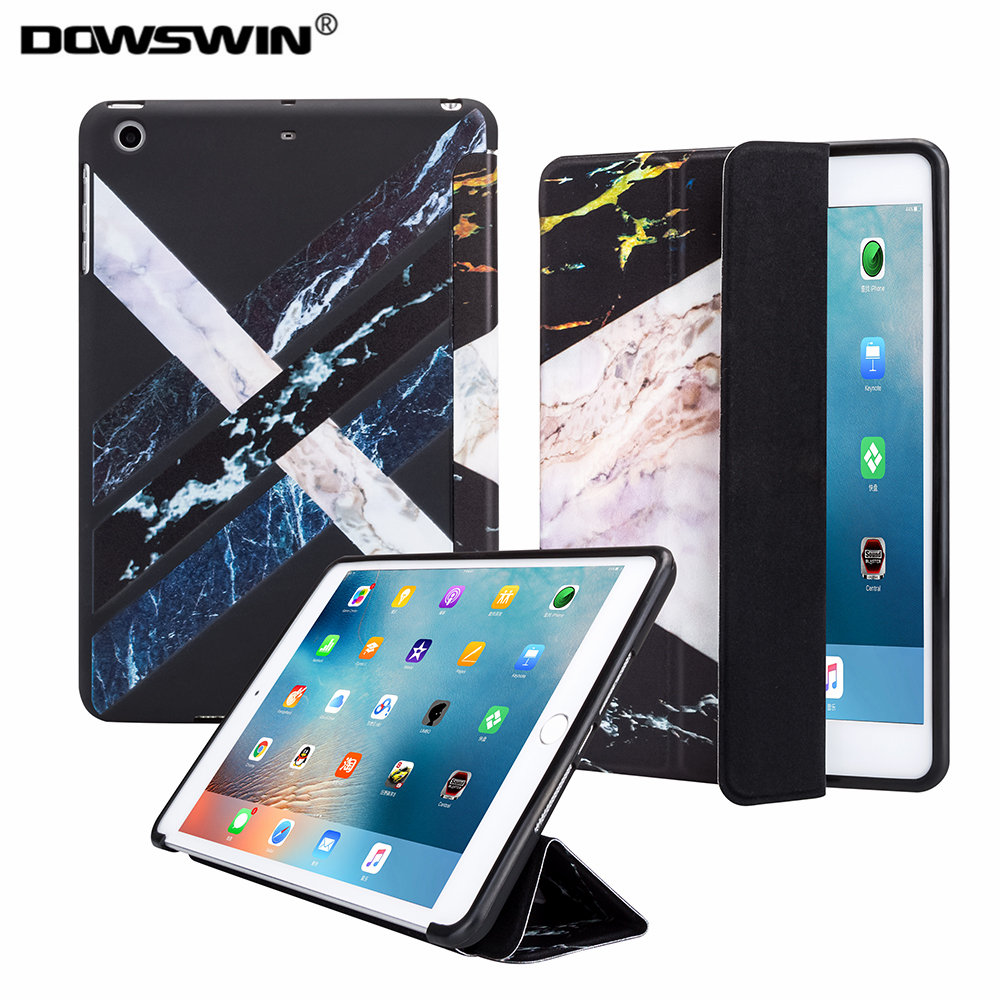 for new ipad 9.7 2017 case ,Dowswin smart PU leather tpu soft for new 9.7' Marble pattern back cover for new ipad 9.7 2018 case nice soft silicone back magnetic smart pu leather case for apple 2017 ipad air 1 cover new slim thin flip tpu protective case