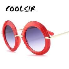 COOLSIR 2019 New Brand Designer Round Sunglasses Women Men Fashion Alloy Black Red Frame Eyewear Gradient Lens UV400