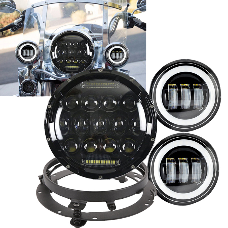 7 Inch LED Headlight Hi/Lo Beam DRL & 4.5 Inch Passing Lamps Driving Fog Lights & Mounting Bracket Adapter Ring for Harley
