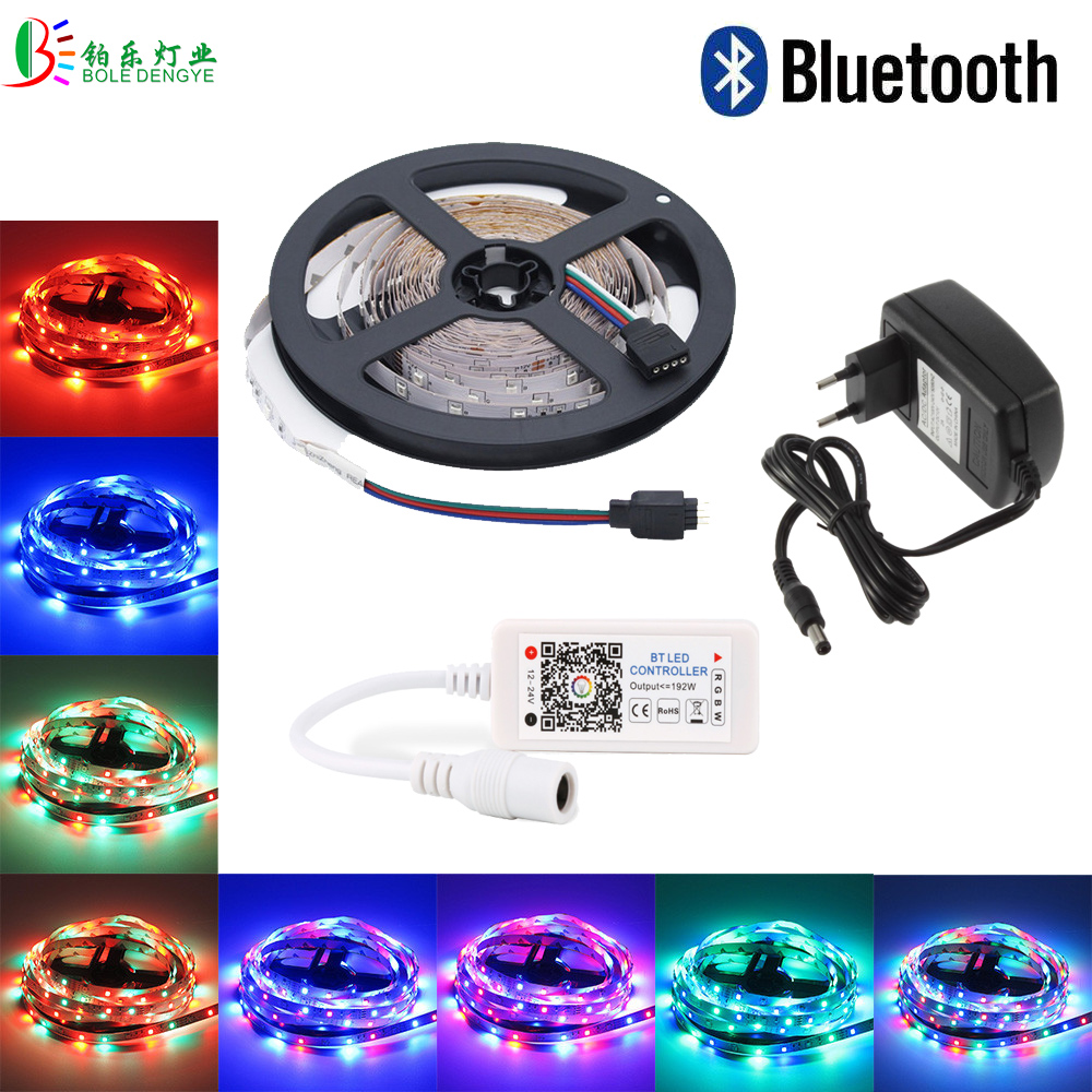15M RGB LED Strip Bluetooth Controller No Waterproof Phone Control 2835 Diode Tape Rope DC12V LED 5A Adapt 20M 10M 5M RGB Kit