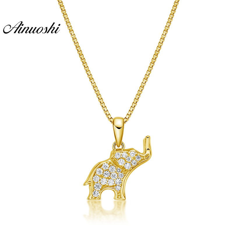 AINUOSHI 10K Solid Yellow Gold Pendant Elephant Pendant SONA Diamond Women Men Children Jewelry Shining Animal Separate PendantAINUOSHI 10K Solid Yellow Gold Pendant Elephant Pendant SONA Diamond Women Men Children Jewelry Shining Animal Separate Pendant