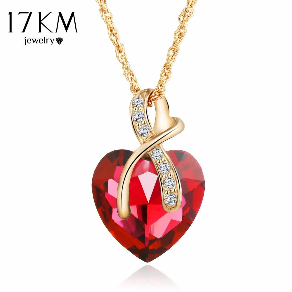 17KM 2016 Fashion Jewelry 4 colors Austrian Crystal Heart Pendant Necklace Women Gold Color Love Necklaces & Pendants Collares