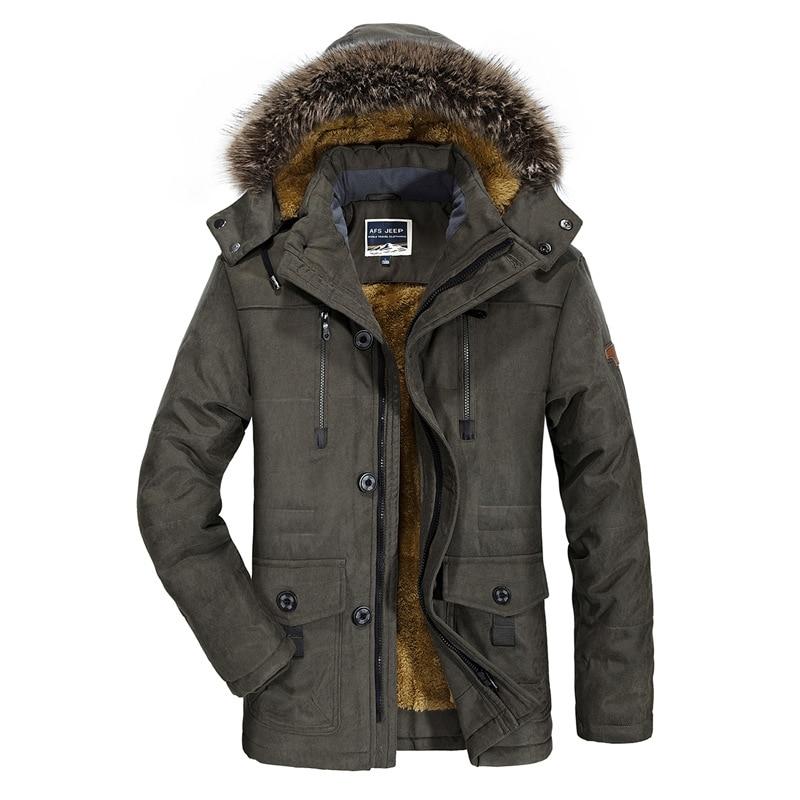 AFS JEEP Big Size L-6XL Autumn Winter Jacket Men Multi-pocket 2017 Solid Hood Warm Coat Thick Cotton-Padded Long section Thicken bert pulitzer men s big textured solid sport coat