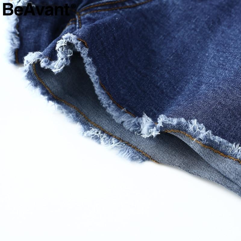 BeAvant High waist elastic bow denim shorts Women tassel button fringe blue shorts female Casual pocket summer jeans shorts 2018 5