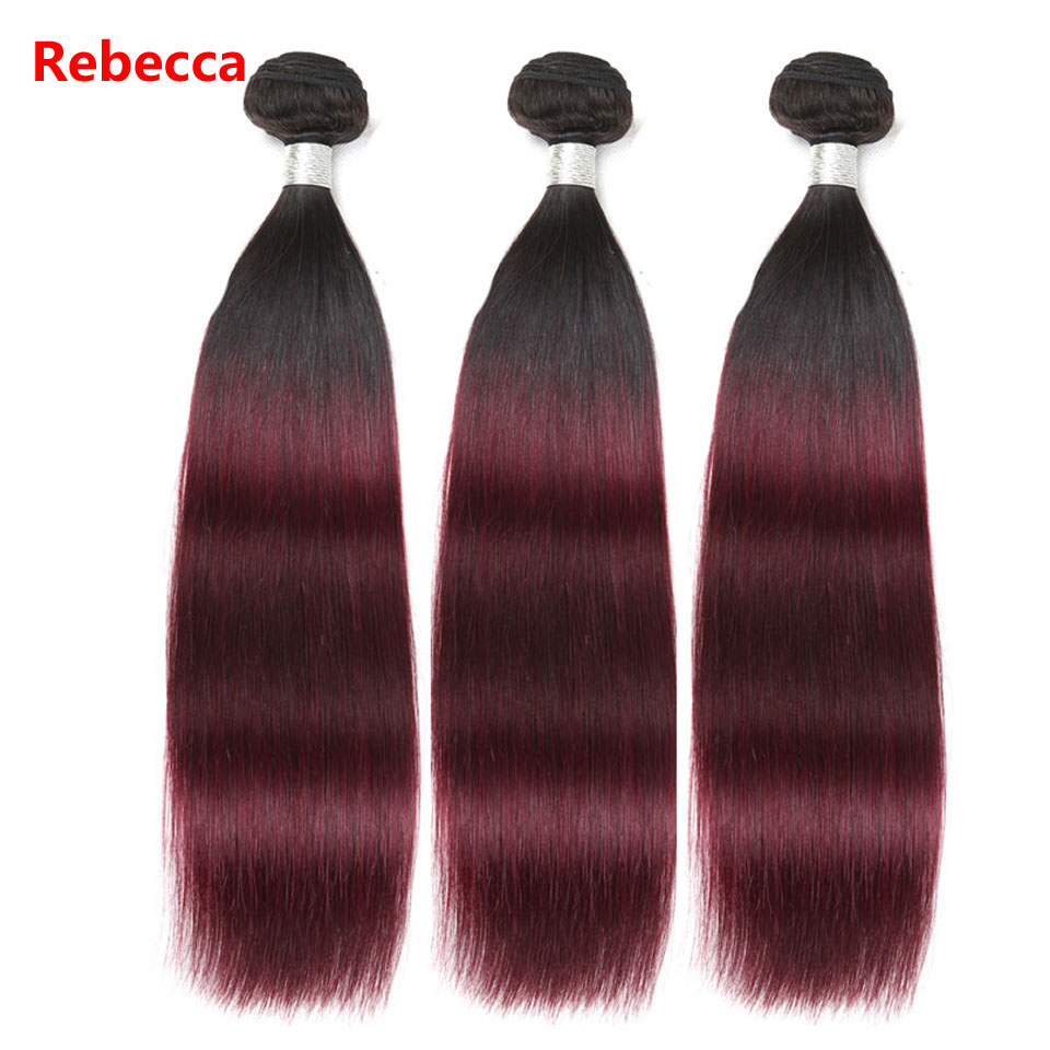 Rebecca Brazilian Remy Human Hair Weave Bundles Ombre Wine Red Hair weft Colored Salon Hair T1b99j