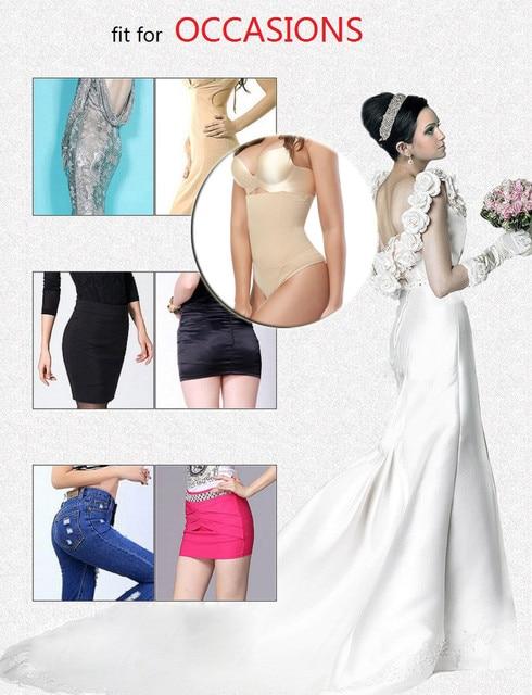 NINGMI femmes bout à bout minceur ventre contrôle culotte robe de mariée G-string corps Shaper taille haute formateur Sexy string Knicker