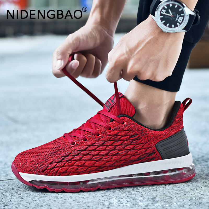 Men Sneakers Breathable Mesh Running Shoes Full Air Cushion Scale Pattern jogging Fashion Sport Shoes Men zapatillas hombre in Running Shoes from Sports Entertainment