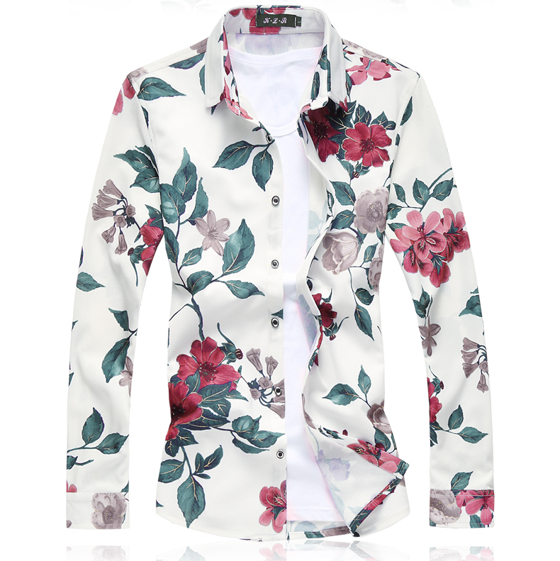 Small Stretch Mens Long-sleeved Floral Shirts Large Size 5XL 6XL 7XL Fashion Business Casual Man Shirt Slim Comfortable 2018