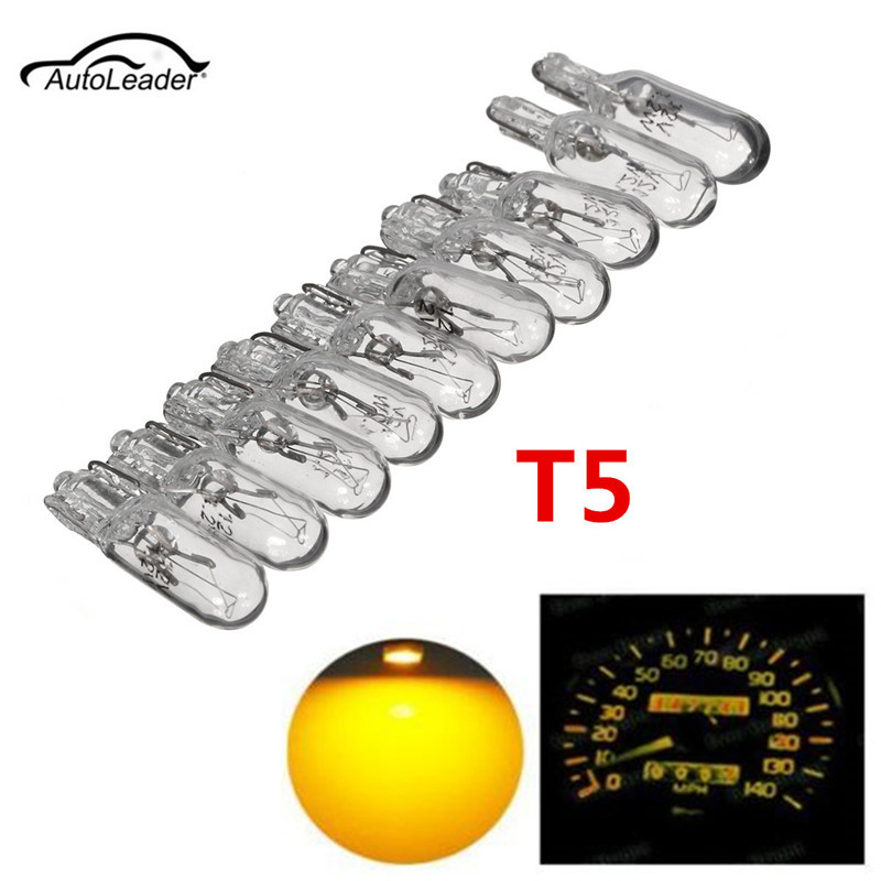 10pcs  T5 286  Car Instrument Gauge Meter Replacement Light Bulb Lamp  Amber 1.2W 12V Light Bulbs