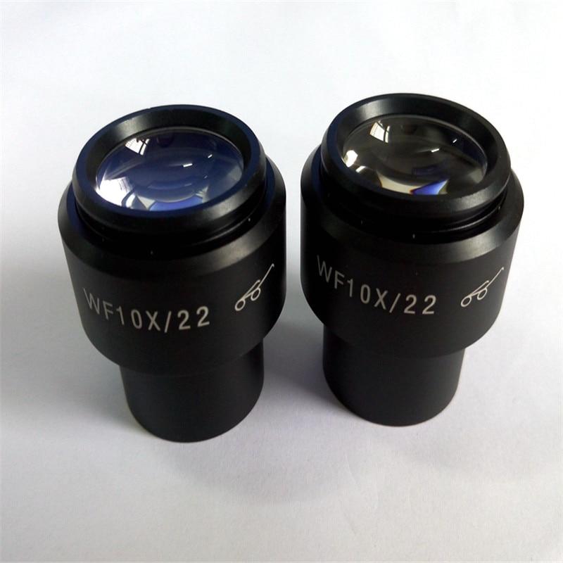 ФОТО 1PC Eyepiece Lens WF10X 22mm Super Wide Field High Eye Point Microscope With Eye Cups Mount 30mm For Binocular Stereo Microscope