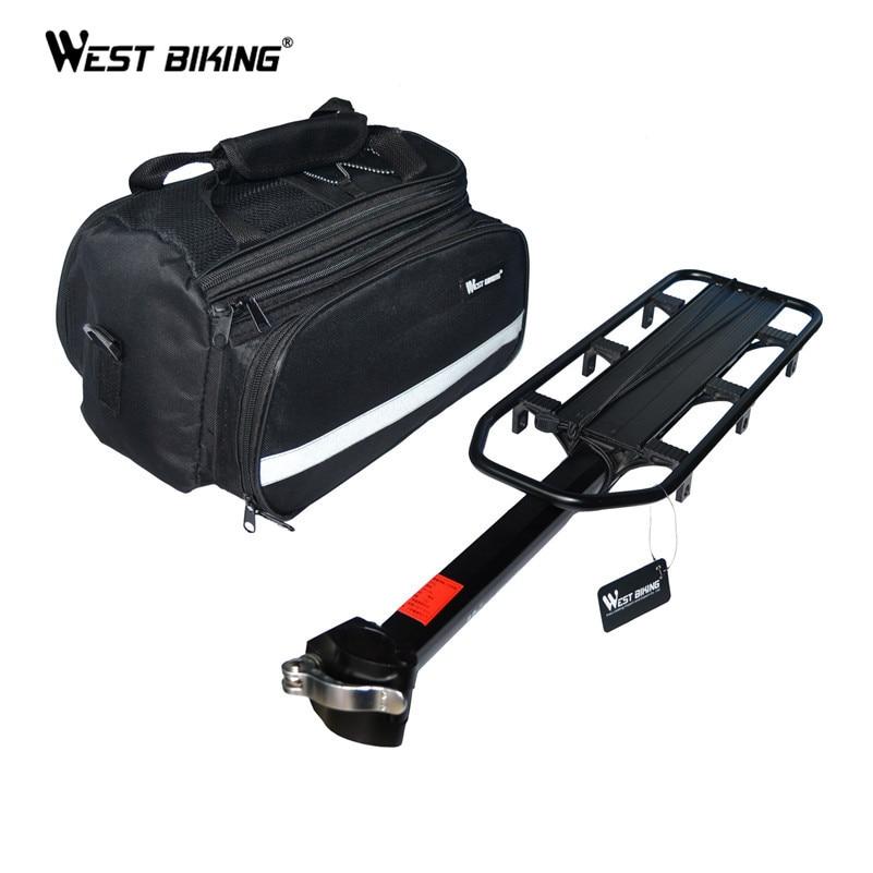 WEST BIKING велосипедные стойки + сумка велосипед багаж аксессуары для велосипеда V Тормозной диск подножка велосипедная задняя седельная сумка ...