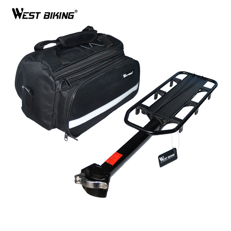 WEST BIKING Bike Racks + Bag Bike Luggage Bicycle Accessories  V Brake Disc Kickstand Cycling Rear Saddle Bag + Bicycle Rack настольная лампа трансвит сириус с16 black