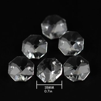Wholesales 18mm Clear Crystal Flower Cut Octagon Beads In 2 Holes For Chandelier Parts Home Decoration Curtain Accessries 2000 lot 14mm colorful crystal glass beads in 1 hole for crystal chandelier parts home decoration