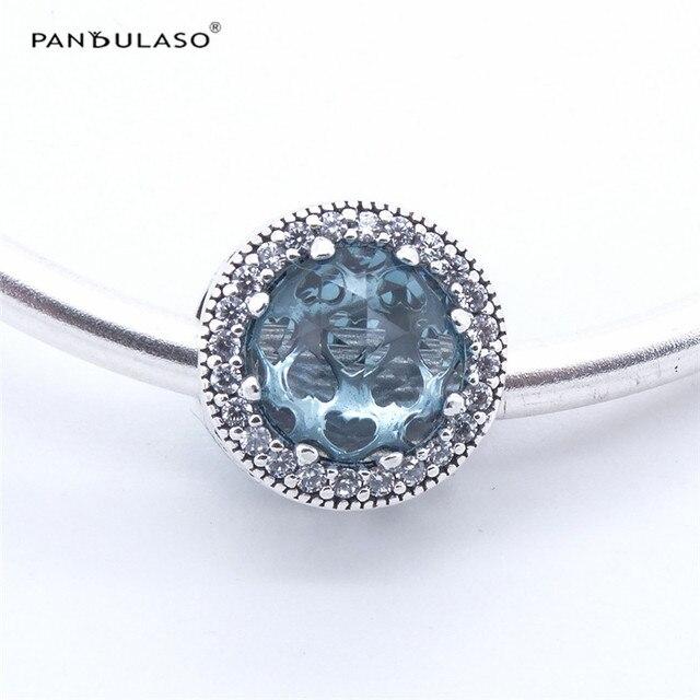 Pandulaso Ghiacciaio Blu Radiant Cuori Fascino Perline Gioielli In Argento 925 per la Donna Fit charms in argento 925 bracciali originali
