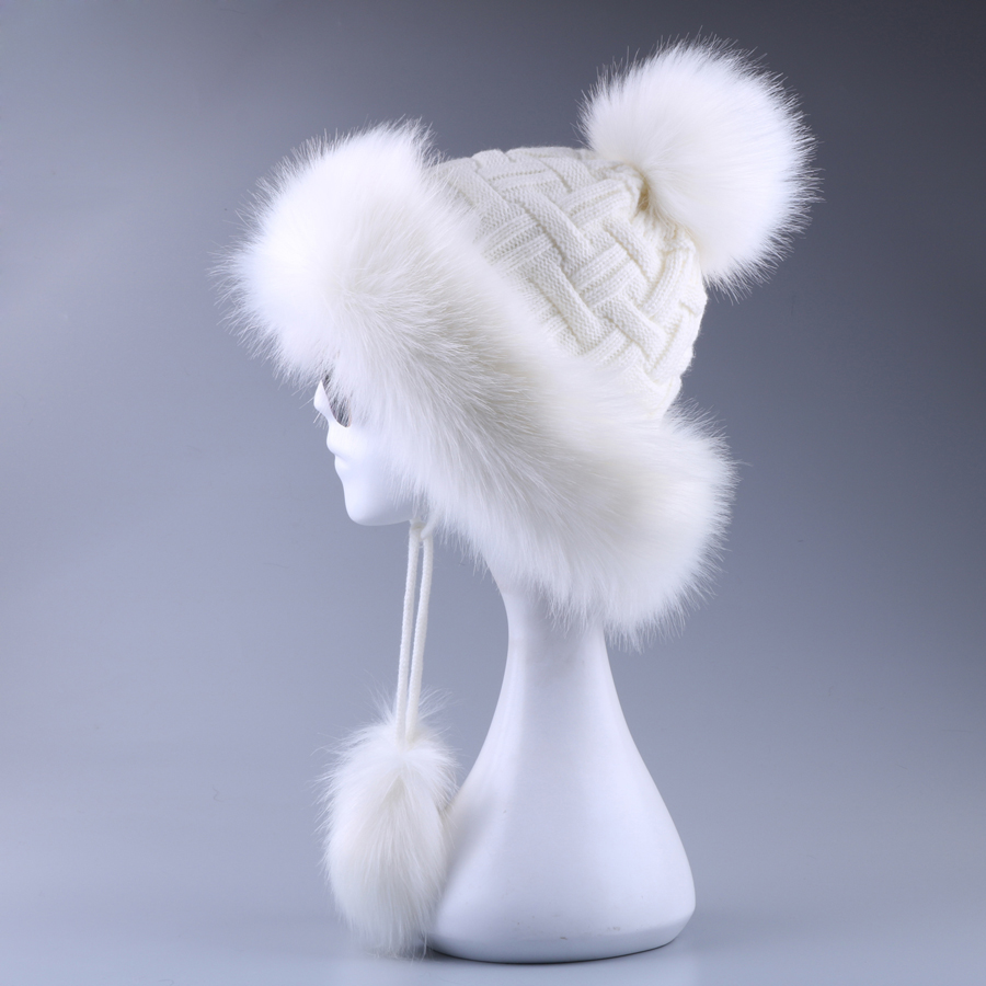 Vintage Faux Fox Fur Bomber Hat Fluffy Pom Pom Women Ushanka Russain Wool Earflap Cossack   Winter Snow Ski Cap Fleece Trapper