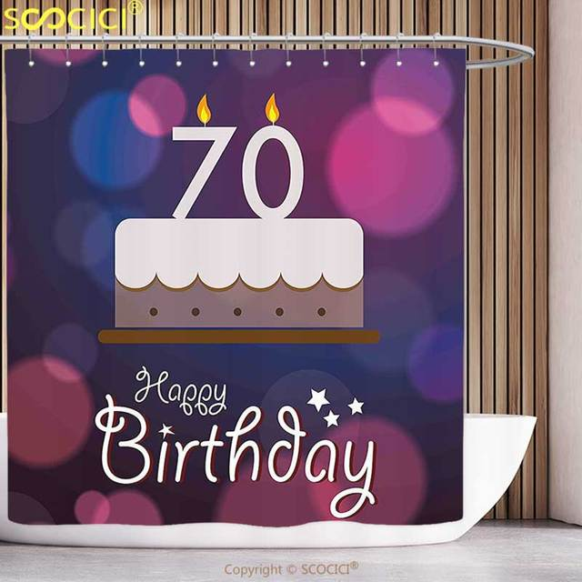 Polyester Shower Curtain 70th Birthday Decorations Cartoon Style Party Cake Abstract Backdrop Image Purple And