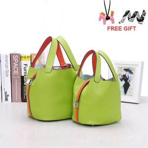 Image 1 - Сумка мешок из воловьей кожи для женщин, сумочка тоут из натуральной воловьей кожи на шнурке, композитные сумки