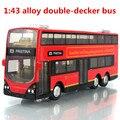 1:43 aleación autobús de dos pisos, autobús de la ciudad de alto modelo de simulación, metal a troquel, tire hacia atrás y intermitente y musical, envío gratis