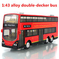 1:43 alloy double-decker bus, city bus high simulation model, metal diecasts, pull back & flashing & musical, free shipping
