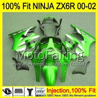 8Gifts Injection mold Body For KAWASAKI NINJA ZX 6R 00 02 INJ291 ZX 6R ZX6R 00 01 02 ZX636 2000 2001 2002 Fairing Green black