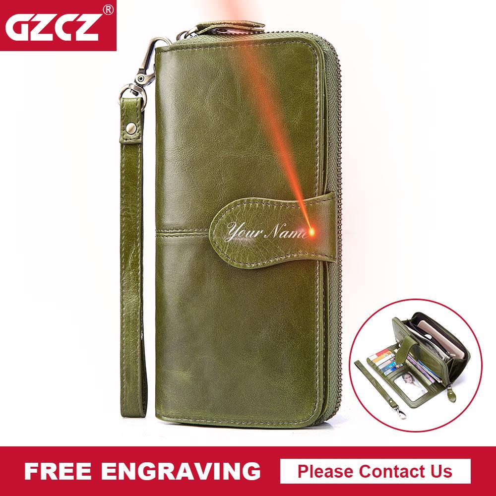 GZCZ 2018 Women Fashion Clutch Wallet Women Genuine Leather Wallets Cell Phone Pocket Photo Holder Vallet Money Bag Portomonee