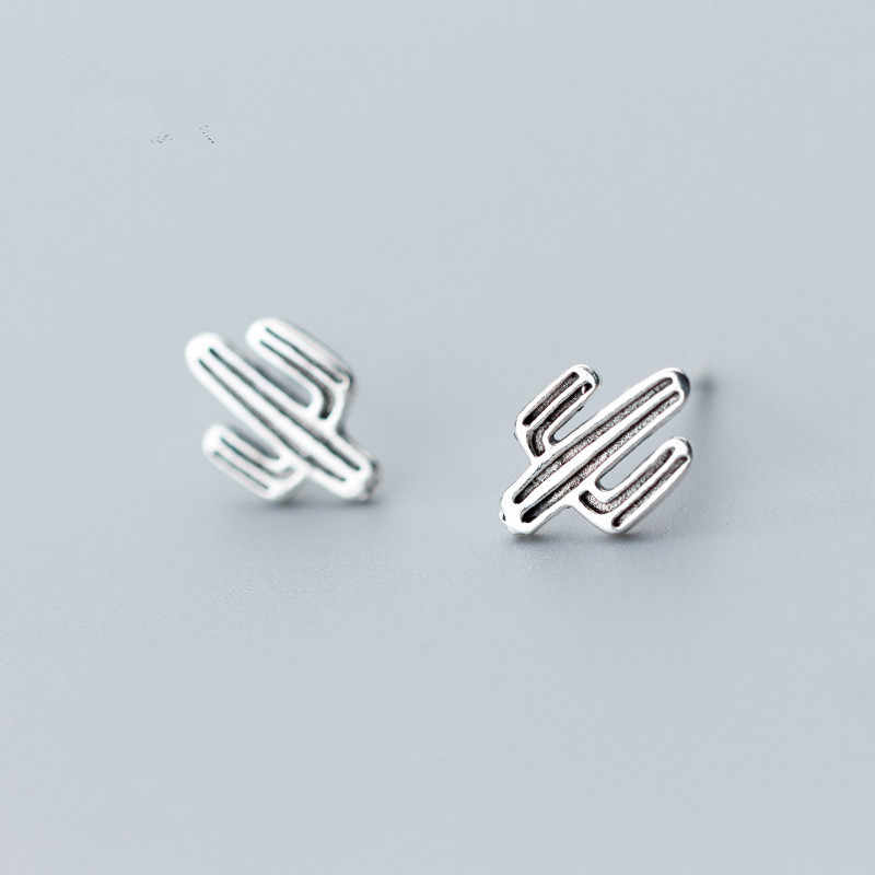 100% 925 Sterling Silver Women's Fashion Vintage Cactus Stud Earrings for Women School Girls Daughter's Wedding Jewelry eh499