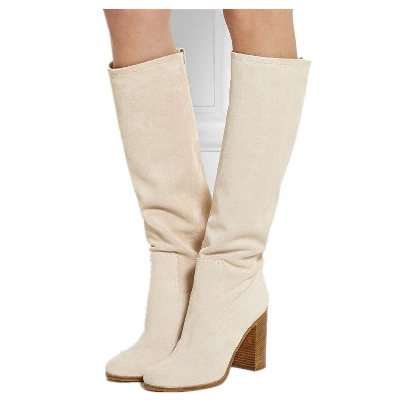 1a7a924b8 Nuevo Estilo Grueso Tacones Altos Botas de Invierno Otoño 2016 de Gamuza Color  Beige de las mujeres se Deslizan En Mitad de la Rodilla Botas Altas Zapatos  ...
