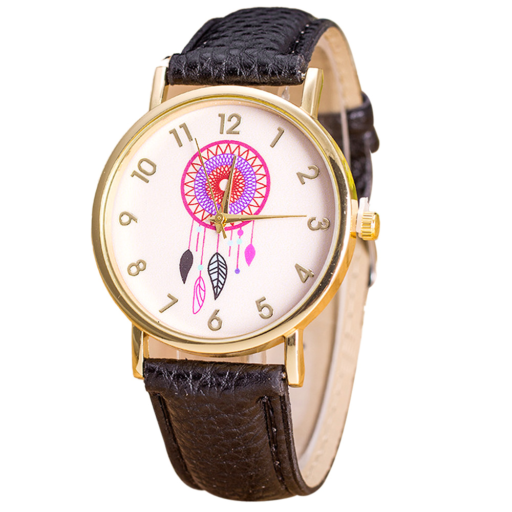 Women Watches 2016 New Arrival Dreamcatcher Pattern Leather Band Analog Quartz Vogue Wrist Watch Clock montres relojes mujer