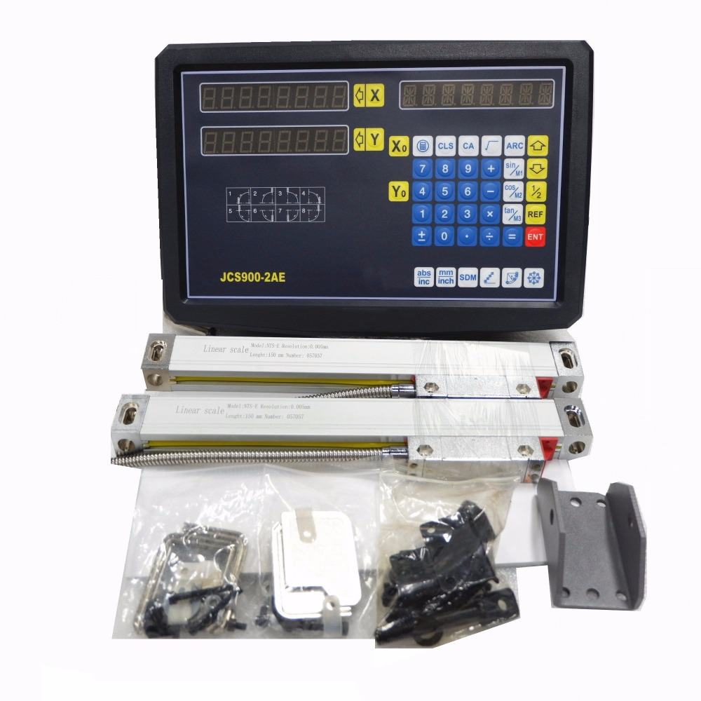 New 2 Axis Digital Readout with High Precision Linear Scale / Linear Encoder/ Linear Ruler For Milling Lathe Machine