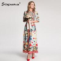2018 Spring Wrist Sleeve Colorful Floral Print Empire Long Boho Dress Fashion Designer Maxi Women Dress