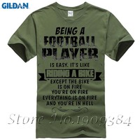 Being A Football Player Shirt Men Male Summer Short Sleeve Crewneck Cotton 3XL Men S T
