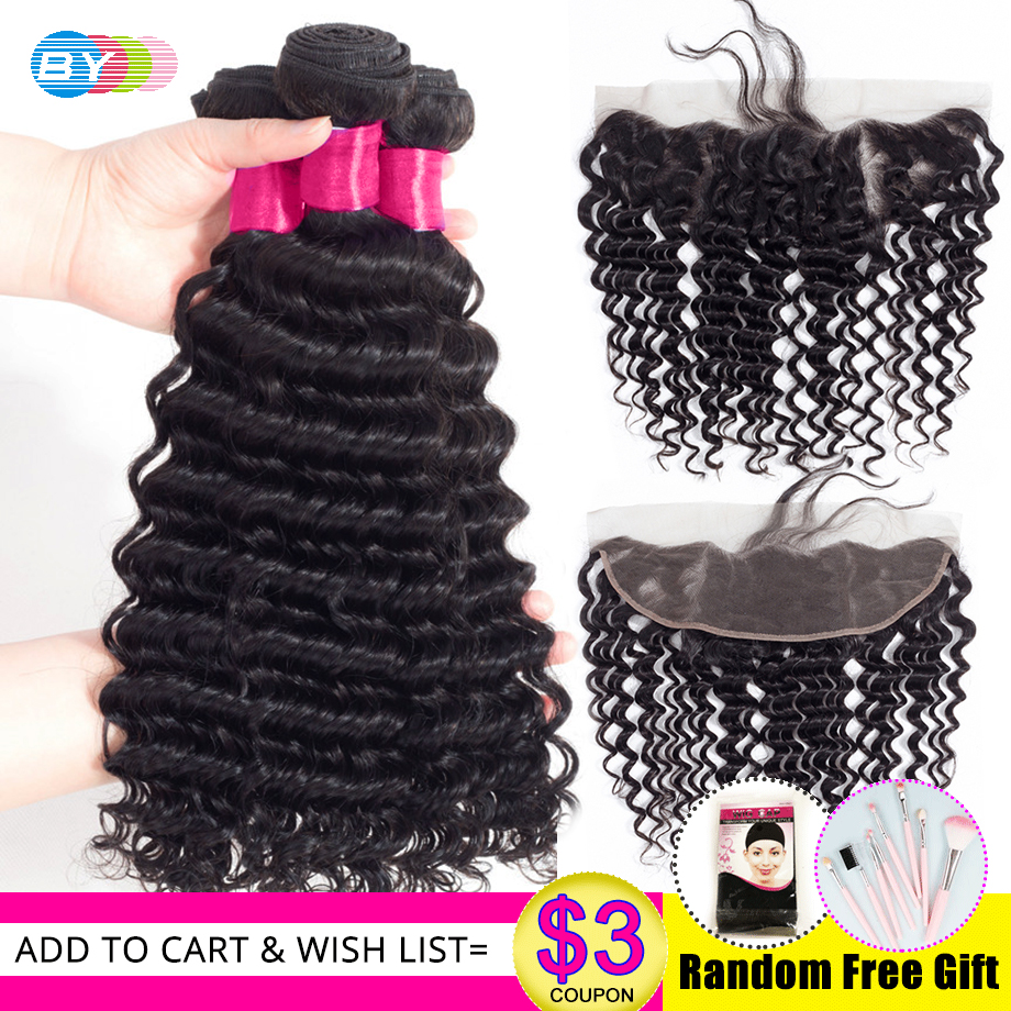 BY Deep Wave Bundles With Frontal 100 Remy Hair Malaysian Human Hair Bundles With Frontal Closure