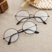 KPAY 2019 New Classic Vintage Glasses Frame Metal Women/Men Fashion Glasses Round Lens Flat Myopia Optical Mirror Simple Frame цена