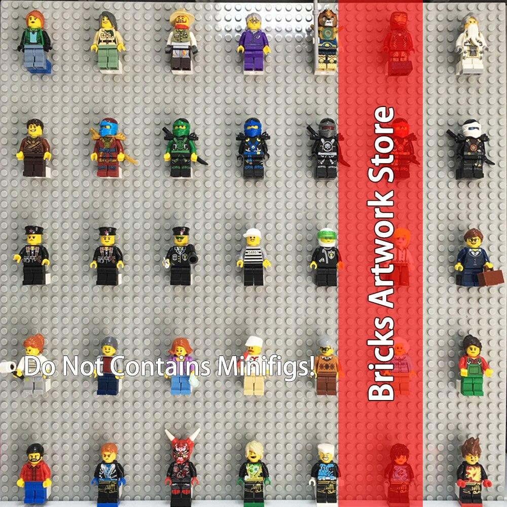 40CMx40CM Blocks Mini Minifigs Figures Display Wall Base Plate DIY Bricks Compatible MOC Set Model building blocks toy kid big bricks building blocks base plate 51 25 5cm 32 16 dots baseplate diy bricks toy compatible with major brand blocks