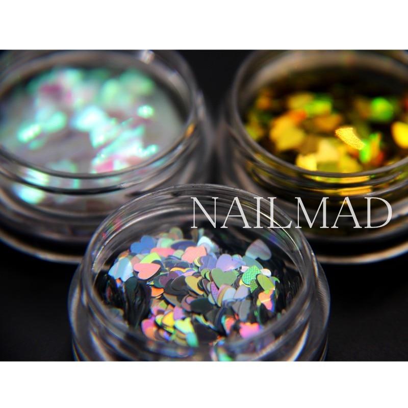 1box NailMAD Лазерлік Nail Sequins Heart Shape Nail Sparkles - Маникюр - фото 5