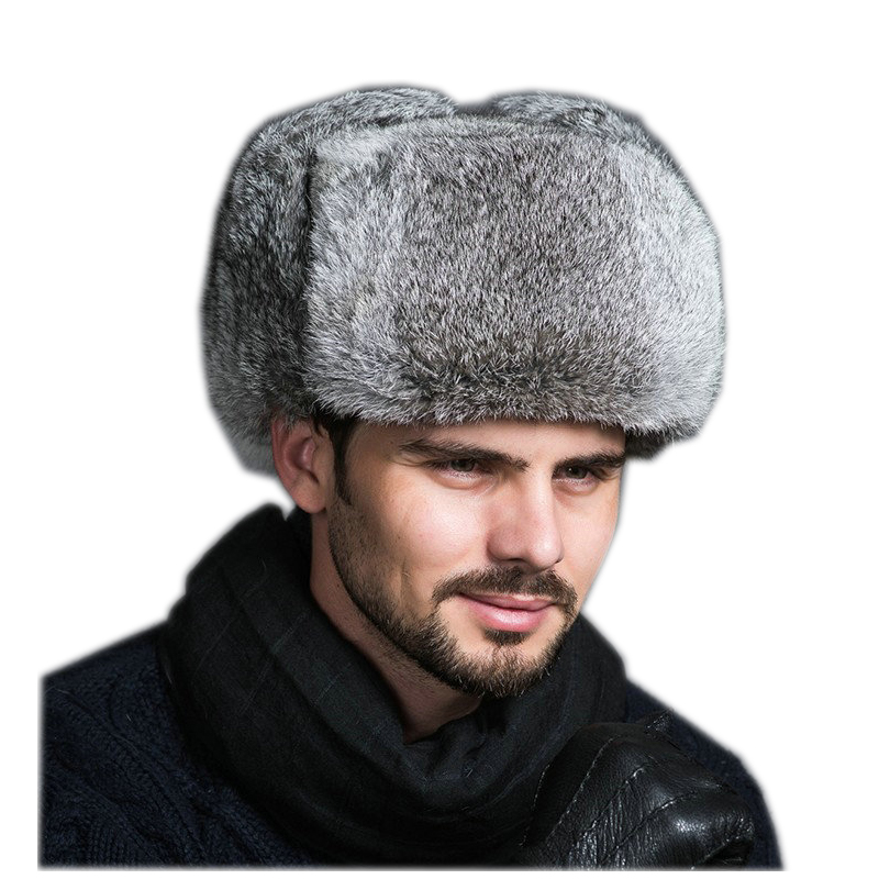 High Quality Mens 100% Real Rabbit Fur Winter Hats Lei Feng Hat With Ear Flaps Warm Snow Caps Russian Hat Bomber Cap 2019 Hats