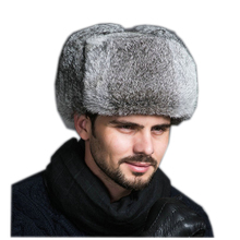 High Quality Mens 100% Real Rabbit Fur Winter Hats Lei Feng hat