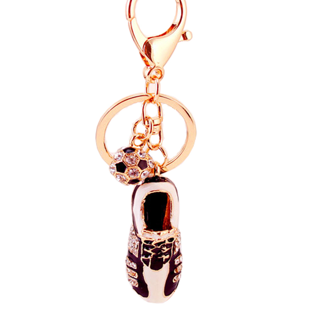 Rhinestone Soccer Shoes Keychain Fashion Metal Trinkets Alloy Key Chain Ring For Fans Gift Bag Purse Charm Pendant Jewelry R111