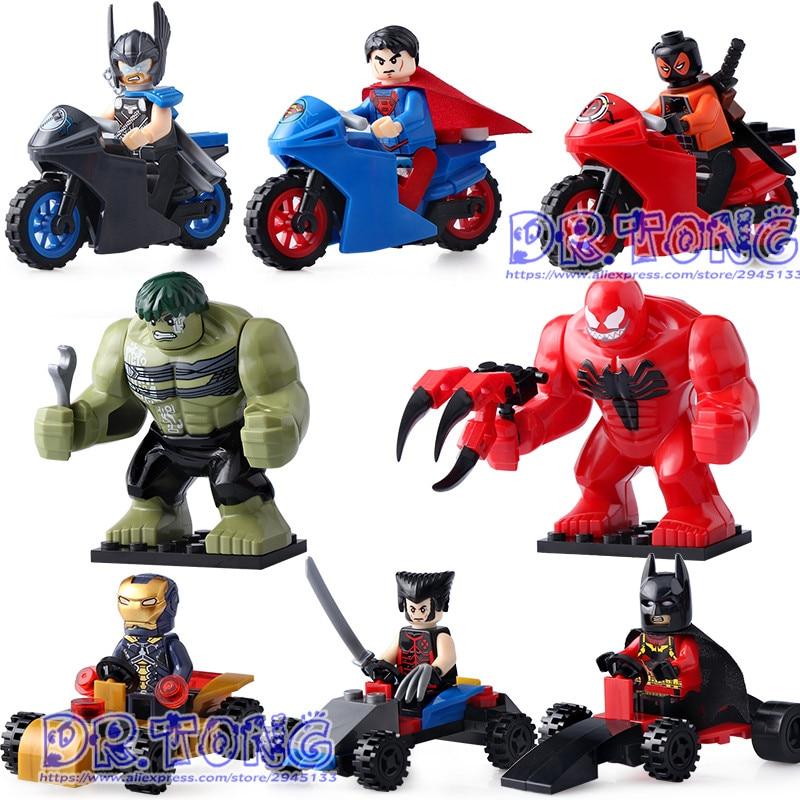DR TONG 8PCS/LOT DLP9064 Super Heroes Thor Hulk Batman Iron Man Superman Building Blocks Toys Children Gifts