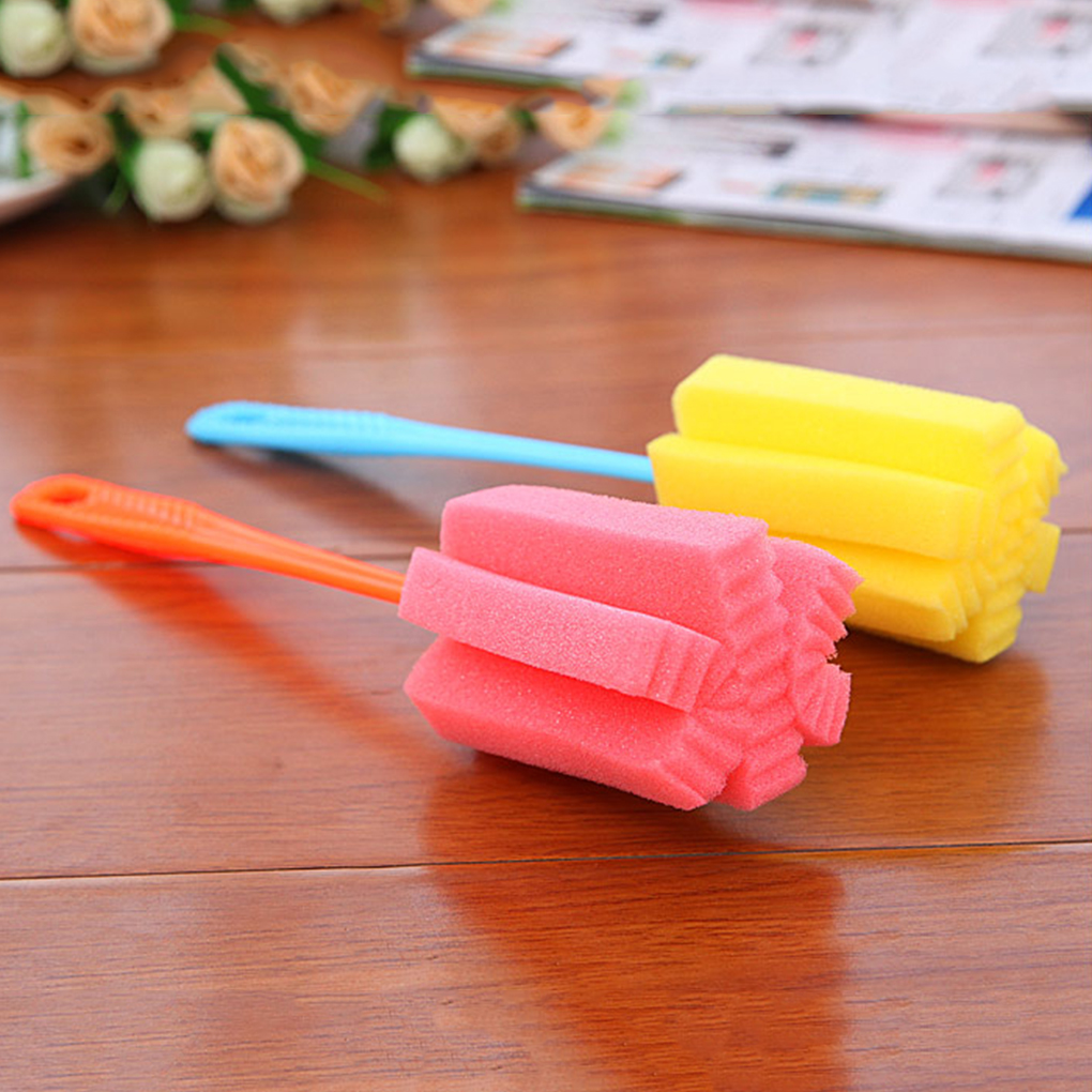 2pcs Baby Bottle Accessories PP Sponge Baby Milk Feeding Bottle Sponge Brush Nipple Cleaning Cup Scrubber Cleaner Tool Feeding