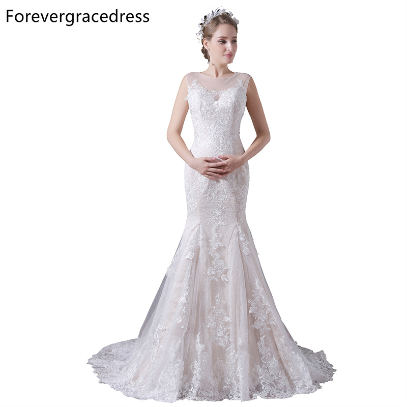 Forevergracedress Cheap High Quality Mermaid Wedding Dress Illusion Neck Applique Lace Long Bridal Gown Plus Size Custom Made