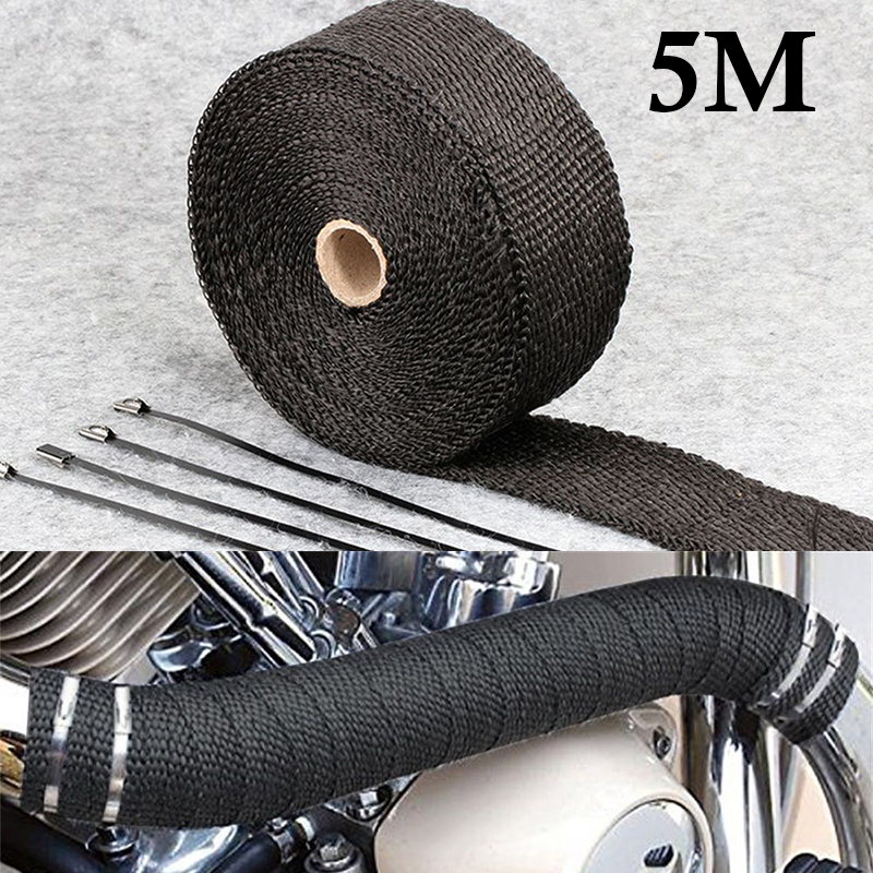 5 Meters Black Exhaust Pipe Insulation Tape Thermal Heat Wrap Motorcycle Manifolds Glass Fiber Insulation Tape +4*Ties Durable(China)