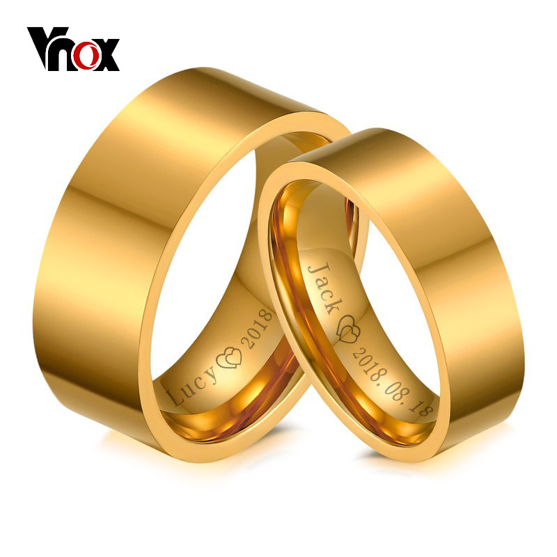Vnox Personalize His and Hers Wedding Ring Gold Color Engagement Rings for Women and Men Jewelry