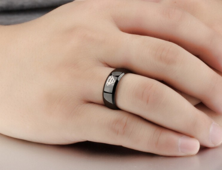 Superman ring titanium stainless steel Men Ring Superman Logo Finger Rings 3 Colors Fashion RING Free shipping