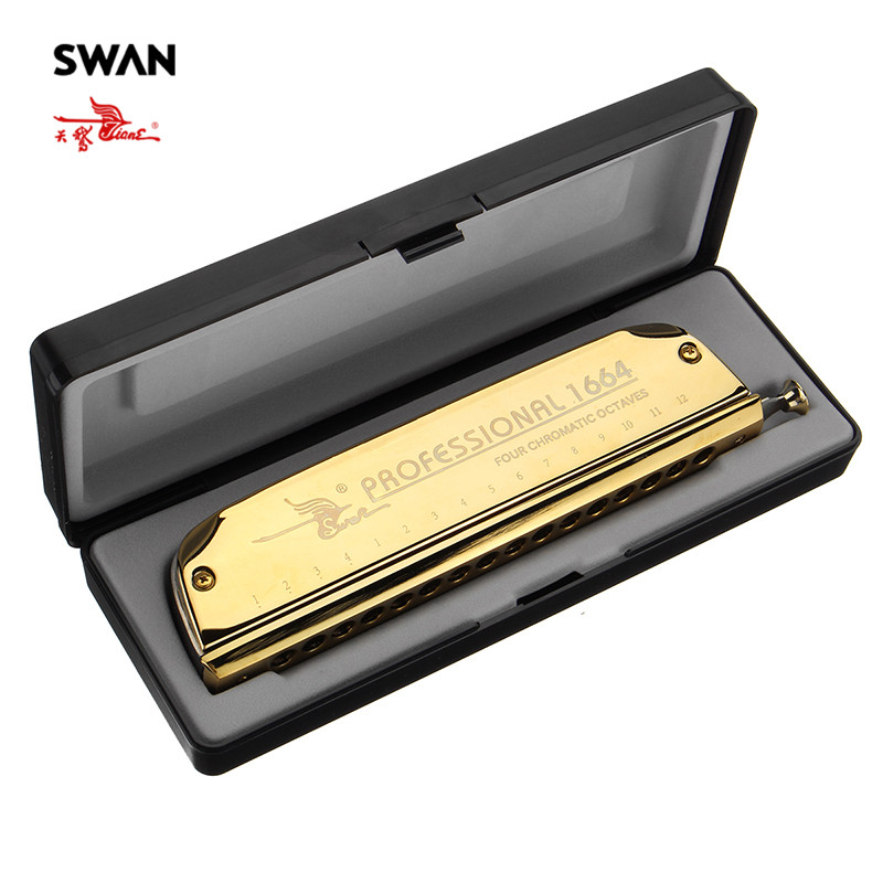 Swan SW1664-5 Gold 16 Holes 64 Tones melodica Chromatic Harmonica In Plastic Box High End Boat Shape Harps Mouth Organ Musical