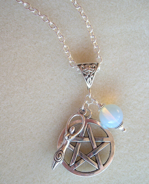 Fashion vintage silver pentagram earth goddess moonstone charms fashion vintage silver pentagram earth goddess moonstone charms pendants necklace pagan witch spiritual protection diy jewelry aloadofball Image collections