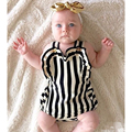 2016 New arrival summer newborn baby girl clothes girls striped body suit kids clothing set bebe vestidos