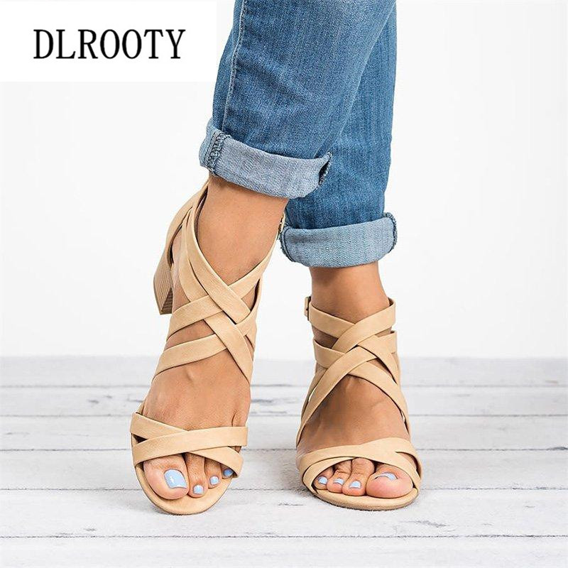 Woman Sandals Shoes Summer Pumps High Heels Thick Peep Toe Buckle Strap Zip Fashion Hollow Solid Gladiator Plus Size 34-43Woman Sandals Shoes Summer Pumps High Heels Thick Peep Toe Buckle Strap Zip Fashion Hollow Solid Gladiator Plus Size 34-43