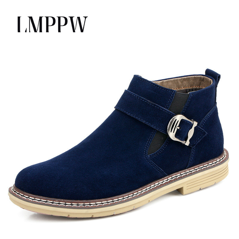 Genuine Leather Men's Boots 2018 Autumn Winter Warm Martin Boots Fashion Buckle Men Ankle Boots Luxury Brand Man Casual Shoes 2018 fashion new men ankle martin boots basic high quality real genuine leather spring autumn luxury brand man black shoes 38 44